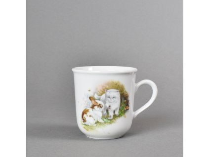 Porcelánový dětský hrneček kotě a králíček