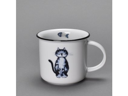 Porcelánový hrnek s černou linkou dekor kočka Irena 250 ml