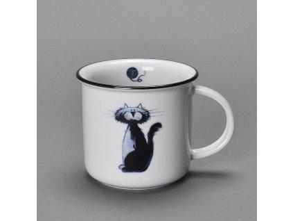 Porcelánový hrnek s černou linkou dekor kočka Ida