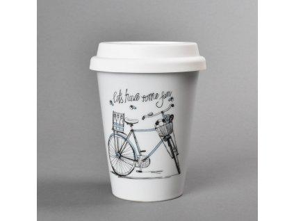 Porcelánový pohárek Coffee to Go s víčkem a páskou dekor pánské kolo 310 ml