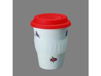 Porcelánový pohárek Coffee to Go s víčkem a páskou dekor rakouská házenka 310 ml