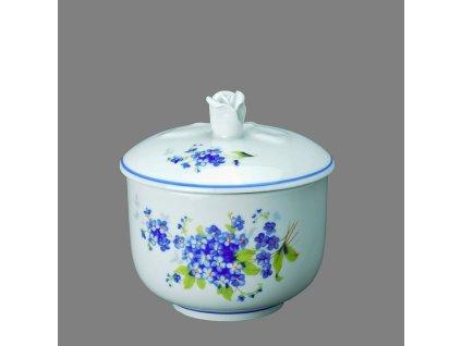 Porcelánová cukřenka dekor Poměnky s modrou linkou 200 ml