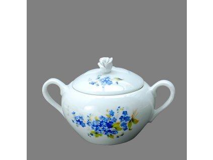 Porcelánová cukřenka dekor Poměnky s modrou linkou