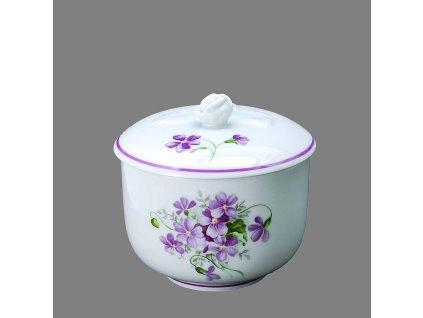 Porcelánová cukřenka dekor fialky s fialovou linkou