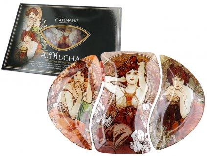 Sada tří skleněných talířů A. Mucha