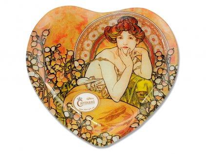 Skleněný talíř srdce Alfons Mucha Drahé kameny