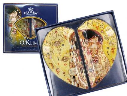Skleněný talíř 2 ks Gustav Klimt Polibek