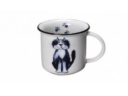 Porcelánový hrnek na espresso kočka ŽOFKA s černou linkou 100 ml