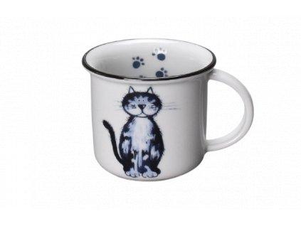 Porcelánový hrnek na espresso kočka s černou linkou 100 ml