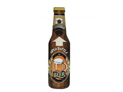 Nástěnný otvírák na láhve ze dřeva a kovu tmavý