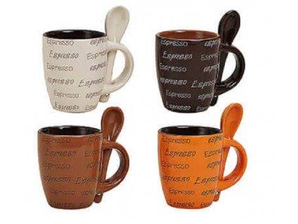 Šálky na espresso s lžičkou z keramiky, 4 ks v sadě