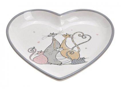 Talíř ve tvaru srdce KOČIČÍ RODINA