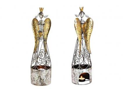 Anděl na čajovou svíčku, kov - 45 cm