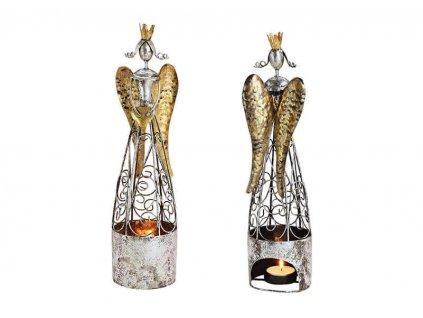 Anděl na čajovou svíčku, kov 35 cm