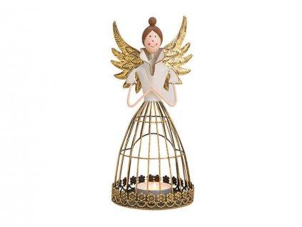 Anděl jako lucerna na čajovou svíčku, kov 28 cm