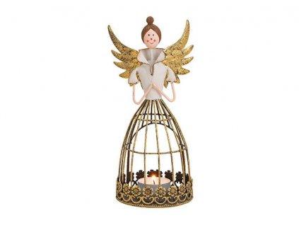 Anděl jako lucerna na čajovou svíčku, kov 21 cm