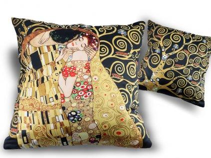 Polštář Gustav Klimt POLIBEK tmavý podklad