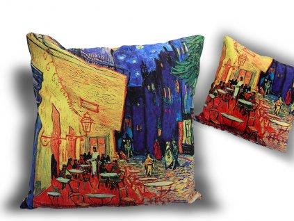 Polštář V. van Gogh kavárna a terasa v noci