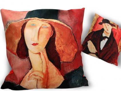 Polštář A. Modigliani Žena v klobouku a Mario Varvogli