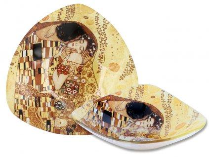Skleněný talíř G. Klimt Polibek