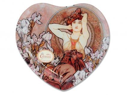 Skleněný talíř ve tvaru srdce A. Mucha Drahé kameny Ametyst