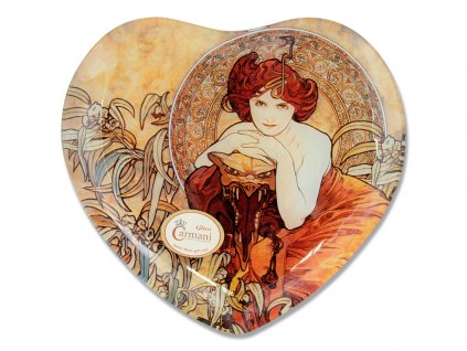 Skleněný talíř ve tvaru srdce A. Mucha Drahé kameny Smaragd