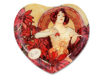 Skleněný talíř ve tvaru srdce A. Mucha Drahé kameny Rubin