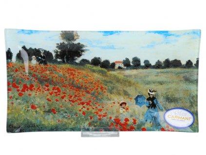 Skleněný talíř C. Monet pole Vlčí mák.