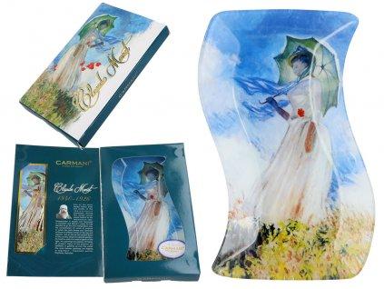 Skleněný prohnutý talíř Monet Žena s deštníkem
