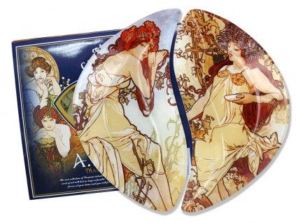 Sada dvou skleněných talířů A. Mucha Čtyři roční období