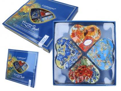 Dekorativní talíř ve tvaru čtyřlístku v designu V. van Gogh, mix design