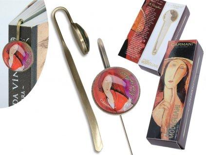 Záložka do knihy A. Modigliani Jeanne Hébuterne v červeném šátku