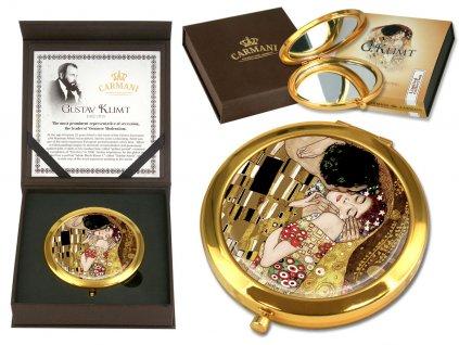 Kosmetické zrcátko G. Klimt Polibek hnědé barvy