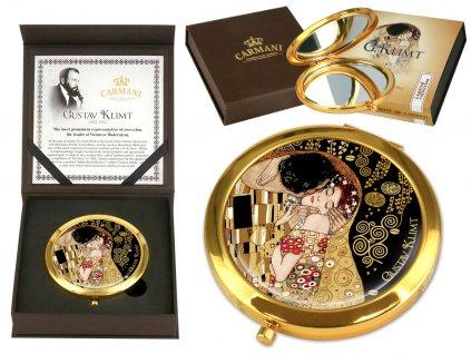 Kosmetické zrcátko G. Klimt Polibek černá barva