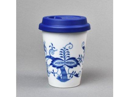 Porcelánový pohárek Coffee to Go s víčkem a páskou Cibulák.