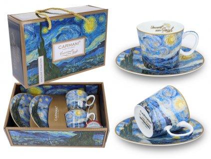 Sada 2 šálků s podšálky na espresso V. van Gogh, Hvězdná noc