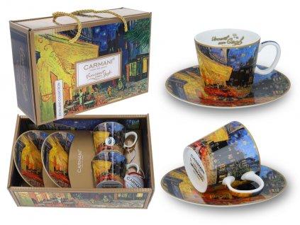 Sada 2 šálků s podšálky na espresso V. van Gogh,Terasa noční kavárny