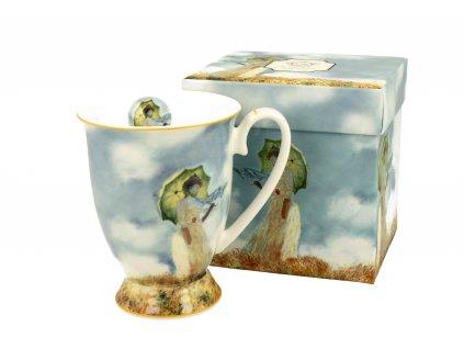 Porcelánový hrnek na stopce, dekor C. Monet Dáma s deštníkem v dárkové krabičce 300 ml