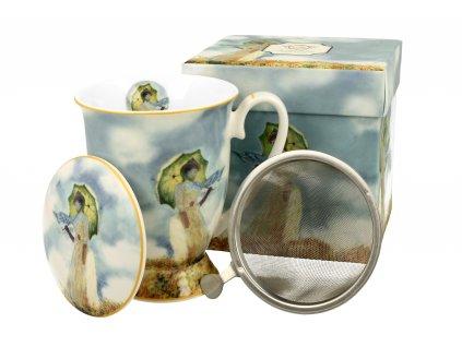 Porcelánový hrnek na stopce se sítkem a víčkem, dekor C. Monet Dáma s deštníkem v dárkové krabičce 300 ml