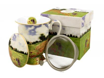 Porcelánový šálek se sítkem a víčkem, dekor C. Monet Pole Vlčí mák v dárkové krabičce 300 ml