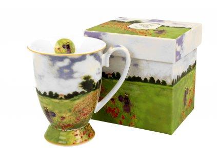 Porcelánový hrnek na stopce, dekor C. Monet Pole Vlčí mák v dárkové krabičce 300 ml