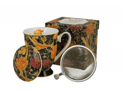 Porcelánový hrnek se sítkem a víčkem, dekor CRAY FLORAL William Morris v dárkové krabičce 325 ml