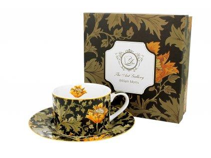 Porcelánový šálek s podšálkem, dekor CHRYZANTÉMA William Morris v dárkové krabičce 240 ml