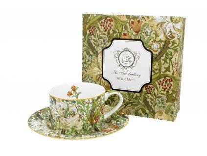 Porcelánový šálek s podšálkem, dekor GOLDEN LILY William Morris v dárkové krabičce 240 ml