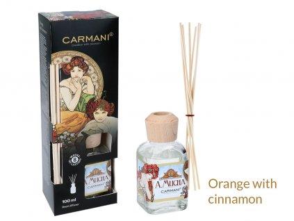 Carmani Designový difuzér A. Mucha s vůní pomeranče a skořice 100 ml