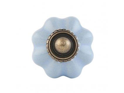 Keramická nábytková úchytka ve tvaru květinky Vintage, světle modrá