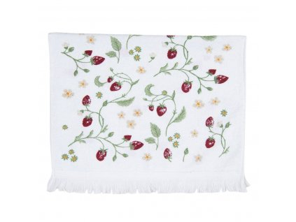 Kuchyňský ručník z kvalitního a měkkého froté s motivem lesních jahod.
