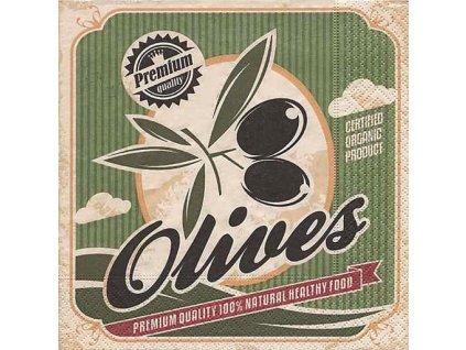 Dezertní třívrstvé ubrousky Premium quality olivy, 20 ks