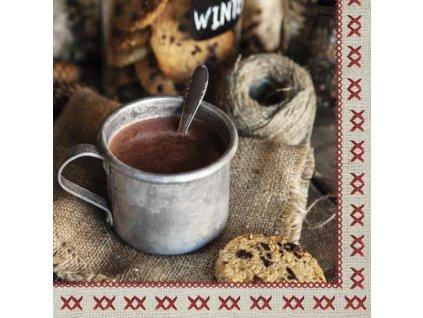 Dezertní třívrstvé ubrousky Hot Cocoa, 20 ks