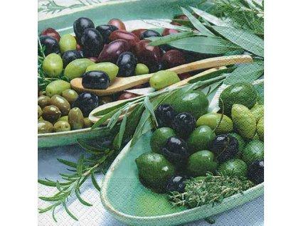 Dezertní třívrstvé ubrousky Bowles with olives, 20 ks